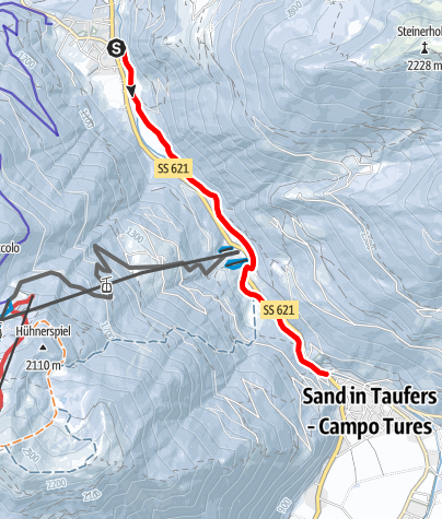 Map / Winter hiking trail from Lutago-Luttach to Campo Tures-Sand in Taufers