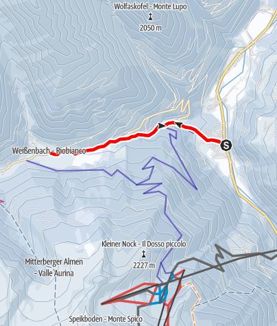Map / Winter hiking trail from Lutago-Luttach to Rio Bianco-Weißenbach