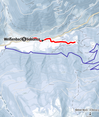 Map / Winter hiking trail to the Busegge Alm hut