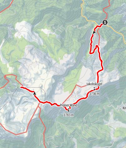 Térkép / Haute Route 3. Etappe: Weichtalhaus – Habsburghaus