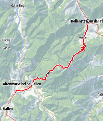 Mapa / Haute Route 12. Etappe: Hollenstein – Voralpe