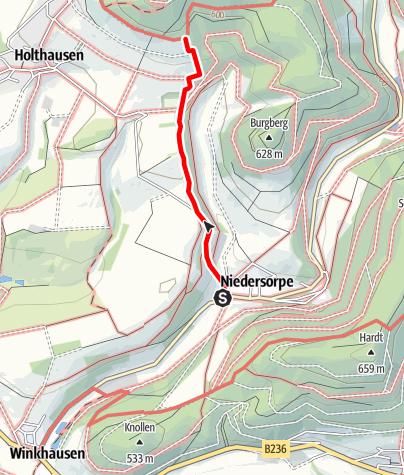 Karte / Zugangsweg Sauerland-Höhenflug: Von Niedersorpe zum Sauerland-Höhenflug