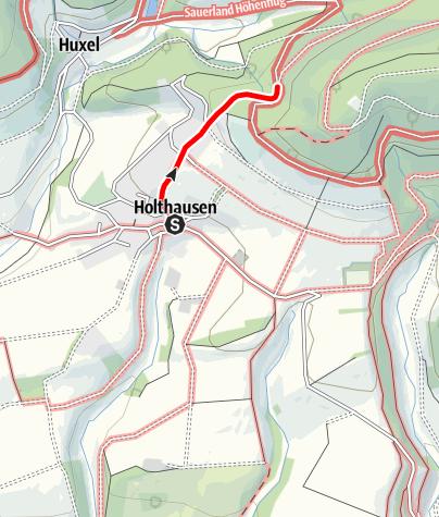Karte / Zugangsweg Sauerland-Höhenflug: Von Holthausen zum Sauerland-Höhenflug