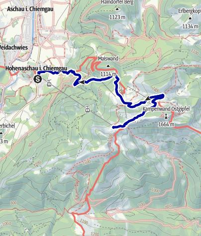 Karte / Von der Talstation der Kampenwandseilbahn zur Möslarnalm
