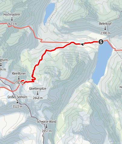 Karte / Min Weag 16 | Bielerhöhe – Saarbrücker Hütte