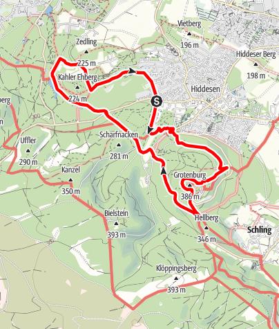 Karte / Zum Hermann und zurück - Hermannsdenkmal, Donoper Teich  und Hochmoor Hiddeser Bent