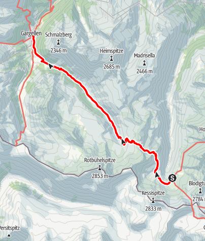 Karte / Min Weag 18   Tübinger Hütte – Gargellen