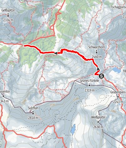 Karte / Min Weag 20   Tilisuna Hütte – Lindauer Hütte
