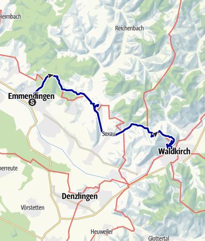 Karte / Breisgauer Vierburgenweg Emmendingen nach Waldkirch