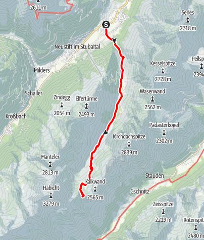 Karte / Stubai High Route Segment A - Neder to Innsbrucker Hut