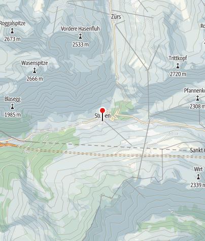 Karte / Stuben am Arlberg, Katholische Pfarrkirche unserer Lieben Frau Mariä Geburt