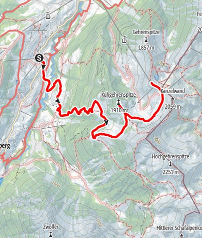 Karte / Über die Kuhgehrenspitze zur Kanzelwand