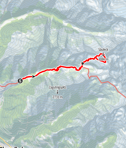 Karte / Säuleck-Südwand-Steig