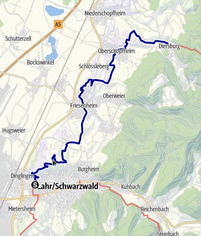 Karte / Breisgauer Weinweg 6.Etappe Lahr nach Diersburg