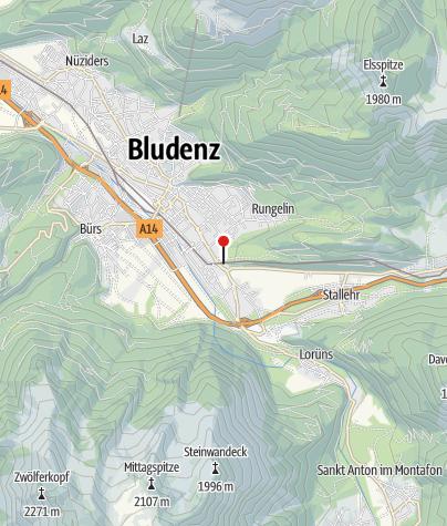Kaart / Bludenz, Dominikanerinnenkloster Sankt Peter, Kirche und Wirtschaftsgebäude