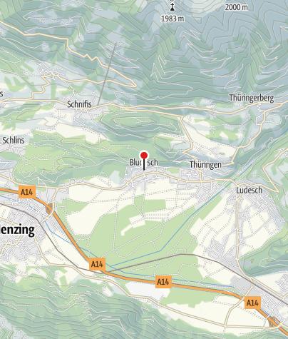 Karte / Bludesch, Katholische Pfarrkirche Heiliger Jakobus der Ältere und Friedhof