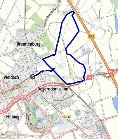 Karte / Wandern von Brannenburg aus - Über die Wiesen und Felder vor Degerndorf