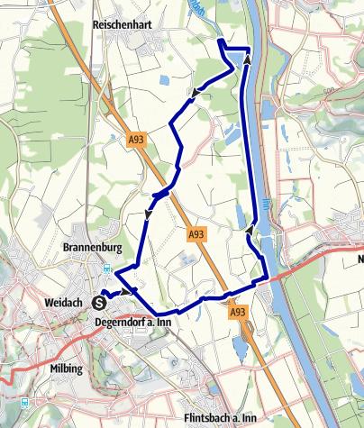 Karte / Wandern von Brannenburg aus - Familienwanderung am Inndamm
