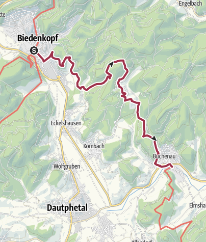 Map /  Lahnwanderweg 04. Etappe Biedenkopf – Buchenau