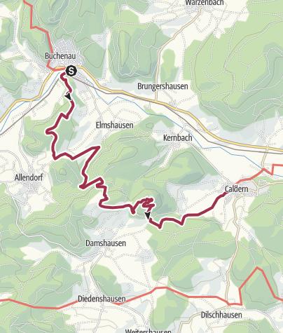 Karte / Lahnwanderweg 05. Etappe  Buchenau – Caldern