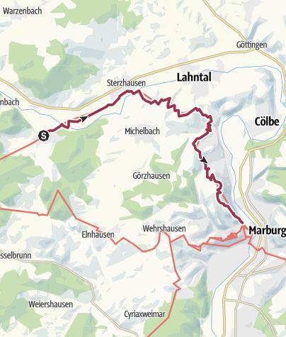 Map / Lahnwanderweg 06. Etappe Caldern – Marburg