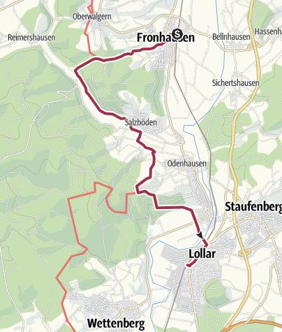 Karte / Lahnwanderweg 08. Etappe Fronhausen – Lollar
