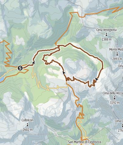 Karte / Die berühmte Berge: Val Venegia - Segantini Hütte -  Tour 934