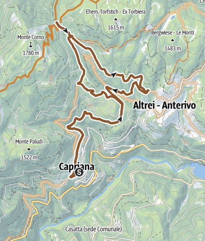 Cartina / Percorso Parco Naturale Monte Corno: Capriana - Anterivo Tour 921