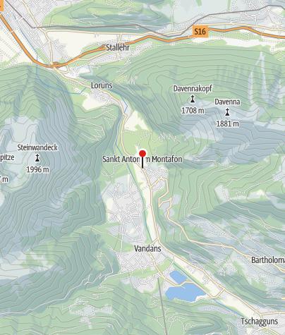 Kaart / St. Anton im Montafon, Katholische Pfarrkirche Heiliger Antonius Eremit mit Friedhof