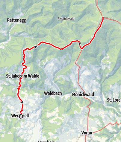 """Karte / """"alpannonia"""" - Zubringer: Wenigzell - St. Jakob im Walde - Hochwechsel"""