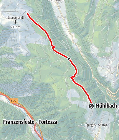 Mappa / Escursione dal parcheggio Naherholungszone Bunker alla baita Anratter