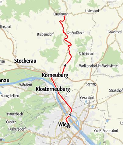 """Karte / Bahnlinie """"ErlebnisZug Leiser Berge"""" von Wien nach Ernstbrunn"""