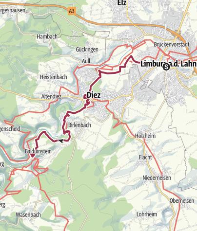 Karte / Lahnwanderweg 16. Etappe Limburg – Balduinstein