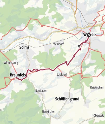 Map / Lahnwanderweg 11. Etappe Wetzlar – Braunfels