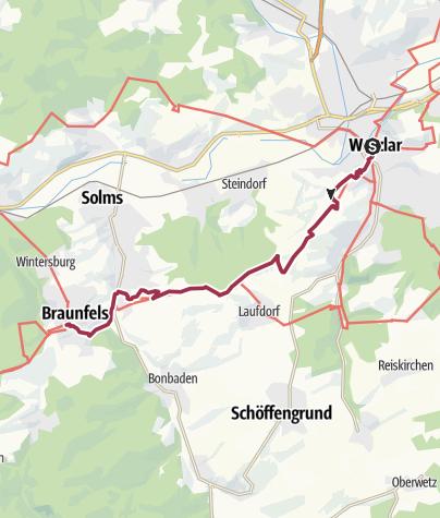 Karte / Lahnwanderweg 11. Etappe Wetzlar – Braunfels