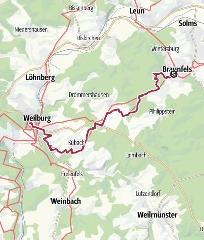 Karte / Lahnwanderweg 12. Etappe Braunfels – Weilburg