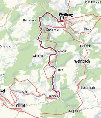 Map / Lahnwanderweg 13. Etappe Weilburg – Aumenau
