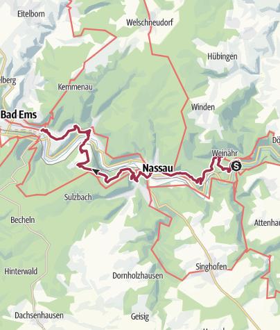 Karte / Lahnwanderweg 18. Etappe Obernhof– Bad Ems