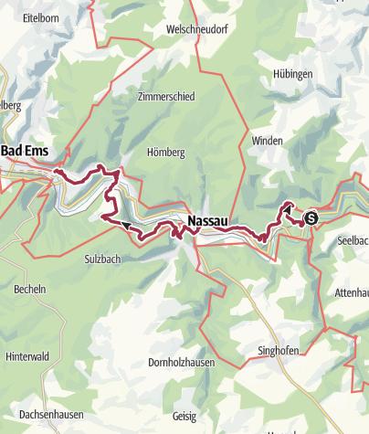 Map / Lahnwanderweg 18. Etappe Obernhof– Bad Ems