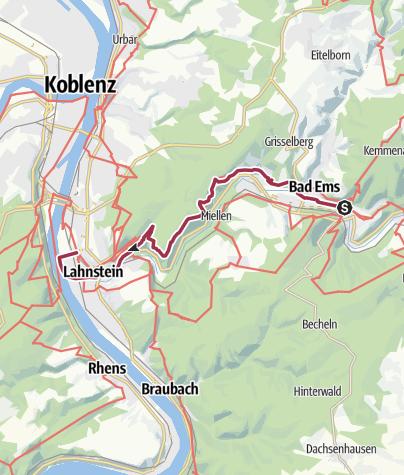 Karte / Lahnwanderweg 19. Etappe Bad Ems – Lahnmündung