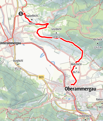 Map / Ammergau Alps Meditation Trail: 7th + 8th Stage – Kappel Church - Passion Play Theatre - winter version