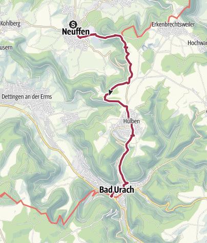 Karte / Von der Tälesbahn zur Ermstalbahn auf dem Albsteig (HW1)