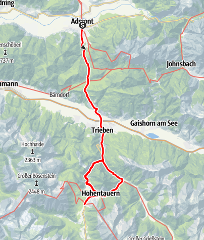 Karte / Benediktweg 2. Etappe: Variante Admont - Hohentauern
