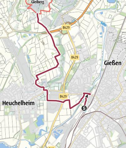 Karte / Lahnwanderweg 09. Etappe Zuweg Gießen