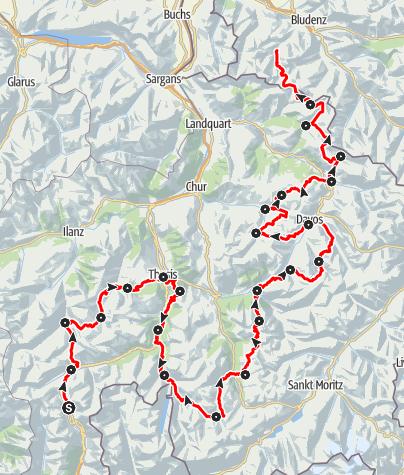 Karte / 35 Walserweg Graubünden (23 Etappen)