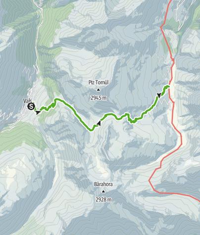 Kaart / 35.03 Walserweg Graubünden Etappe 3: Vals - Safien Turrahus
