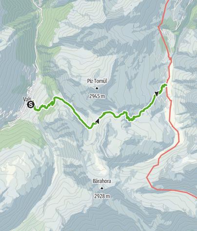 Cartina / 35.03 Walserweg Graubünden Etappe 3: Vals - Safien Turrahus