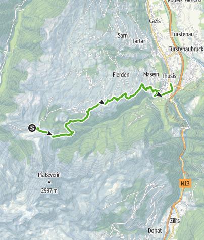Karte / 35.05 Walserweg Graubünden Etappe 5: Glaspass - Thusis