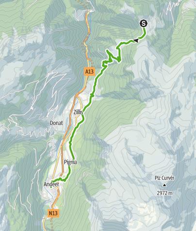 Cartina / 35.07 Walserweg Graubünden Etappe 7: Obermutten - Andeer