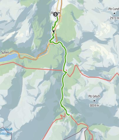 Karte / 35.08 Walserweg Graubünden Etappe 8: Andeer - Innerferrera